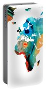 Map Of The World 11 -colorful Abstract Art Portable Battery Charger