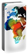 Map Of The World 3 -colorful Abstract Art Portable Battery Charger