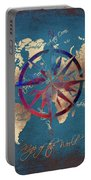 Map Of The World Wind Rose 4 Portable Battery Charger