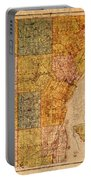 Map Of Wayne County Michigan Detroit Area Vintage Circa 1893 On Worn Distressed Canvas  Portable Battery Charger