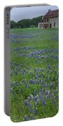 Marble Falls Texas Stone House And Bluebonnets Portable Battery Charger
