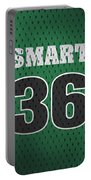 Marcus Smart Boston Celtics Number 36 Retro Vintage Jersey Closeup Graphic Design Portable Battery Charger