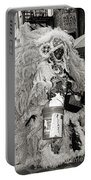 Mardi Gras Indian In Pirates Alley In Black And White Portable Battery Charger