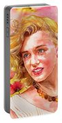 Marilyn Monroe With Poppies Portable Battery Charger