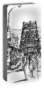 Market Place - Urban Life Outside Temple India Portable Battery Charger