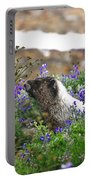 Marmot In The Wildflowers Portable Battery Charger