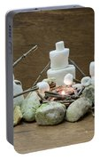 Marshmallow Family Making S'mores Over Campfire Portable Battery Charger