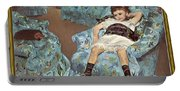 Mary Cassatt-little Girl In A Blue Armchair1878 Po Amp 059 Mary Cassatt Portable Battery Charger