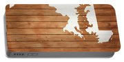Maryland Rustic Map On Wood Portable Battery Charger