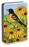 Maryland State Bird Oriole And Daisy Flower Portable Battery Charger by Crista Forest