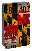 Maryland State Flag Recycled Vintage License Plate Art Portable Battery Charger