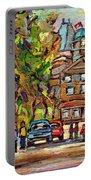 Mcgill Gates  Entrance Of Mcgill University Montreal Quebec Original Oil Painting Carole Spandau Portable Battery Charger