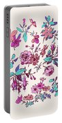 Meadow Flower And Leaf Wreath Isolated On Pink, Circle Doodle Fl Portable Battery Charger