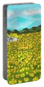 Meadow With Yellow Dandelions, Oil Painting Portable Battery Charger