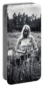 Meditation Meadow Bw Background Portable Battery Charger