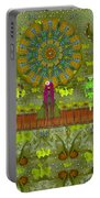 Meditative Garden Got Visit Of Lady Panda And The Floral Skulls Portable Battery Charger