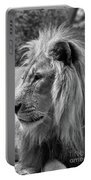 Meditative Lion In Black And White Portable Battery Charger