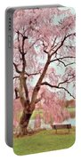 Meet Me Under The Pink Blooms Beside The Pond - Holmdel Park Portable Battery Charger