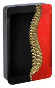 Memento Mori - Gold Human Backbone Over Black And Red Canvas Portable Battery Charger