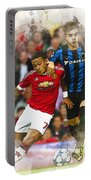 Memphis Depay Of Manchester United In Action Portable Battery Charger