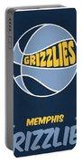 Memphis Grizzlies Vintage Basketball Art Portable Battery Charger