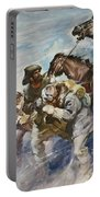 Men And Horses Battling A Storm Portable Battery Charger by James Edwin McConnell
