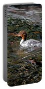 Merganser And Spawning Salmon - Odell Lake Oregon Portable Battery Charger