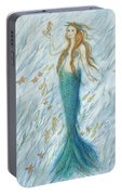 Mermaid And Her Golden Seahorse Portable Battery Charger