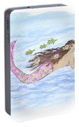Mermaid And Her Sea Turtle Portable Battery Charger