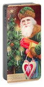 Merry Christmas Santa Delivers Gifts Vintage Card Portable Battery Charger