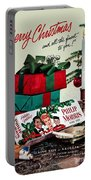 Merry Christmas Vintage Cigarette Advert Portable Battery Charger