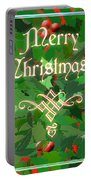 Merry Christmas With Holly Portable Battery Charger