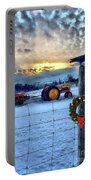 Winter Farm Sunset Portable Battery Charger