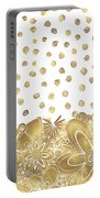 Metallic Gold Floral Flower Swirls Trendy Unique Art By Madart Portable Battery Charger