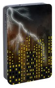 Metropolis At Stormy Night Portable Battery Charger