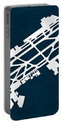 Mex Benito Juarez International Airport Silhouette In Blue Portable Battery Charger