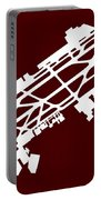 Mex Benito Juarez International Airport Silhouette In Red Portable Battery Charger