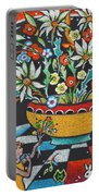 Mexican Vase With Spring Flowers Portable Battery Charger