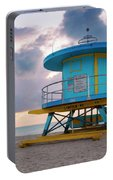 Miami Lifeguard Cabin At Sunrise Portable Battery Charger