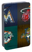 Miami Sports Fan Recycled Vintage Florida License Plate Art Marlins Heat Dolphins Panthers Portable Battery Charger