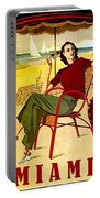 Miami, Woman On The Beach Under Sunshade Portable Battery Charger