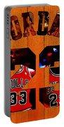 Michael Jordan Wood Art 1b Portable Battery Charger