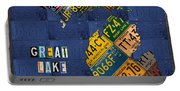 Michigan License Plate Map Great Lake State With Vintage Blue Plate Background Edition Portable Battery Charger