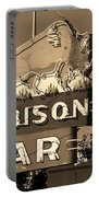 Miles City, Montana - Bison Bar Sepia Portable Battery Charger