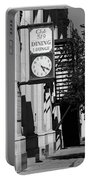 Miles City, Montana - Downtown Clock Bw Portable Battery Charger