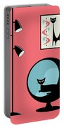 Shower Curtain Mini Atomic Cat On Pink  Portable Battery Charger