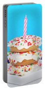 Mini Donut Cake With  Blue Candle By Sheila Fitzgerald Mini Donut Cake With Pink Candle Portable Battery Charger