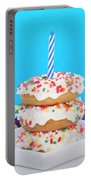 Mini Donut Cake With  Blue Candle Portable Battery Charger