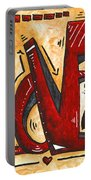 Mini Pop Art Gold Red Love Original Painting By Madart Portable Battery Charger