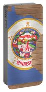 Minnesota Rustic Map On Wood Portable Battery Charger